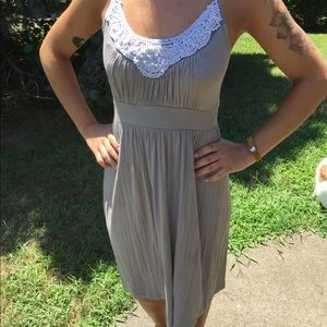 Grey dress with bead detailing